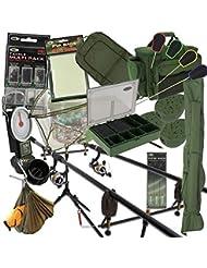 COMPLET Carpe Pêche installation 2 tiges et rouleaux avec CARRY ALL alarmes matériel PVA pied Crochets Tapis et plus