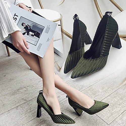 Xue Qiqi Solo zapatos de moda femenina zapatos de tacón alto temperamento salvaje marea áspero a la luz de la...