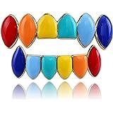 Set di griglie arcobaleno,Decorazione per la festa Hip Hop Denti Iced Out Gold Fang Grillz Denti superiori e inferiori