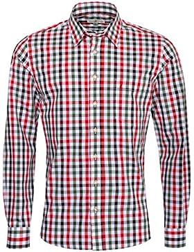 Almsach Trachtenhemd David Slim Fit Mehrfarbig in Rot und Dunkelgrün Inklusive Volksfestfinder