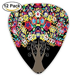 Tree With Flower Blossom Branches Vivid Nature Summer Season Artistic Graphic Print Guitar Picks 12/Pack