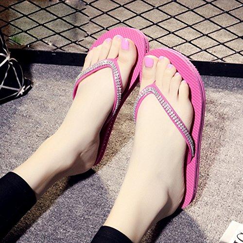Débardeur de mode Sandales plates sandales Sandales imperméables (rose / noir / bleu / marron) ( Couleur : Marron , taille : 35 ) Rose