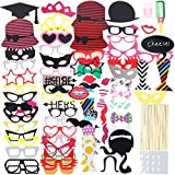 Lictin 86Pcs DIY Photo Booth Atrezzo Favorecer Incluyendo Cómica