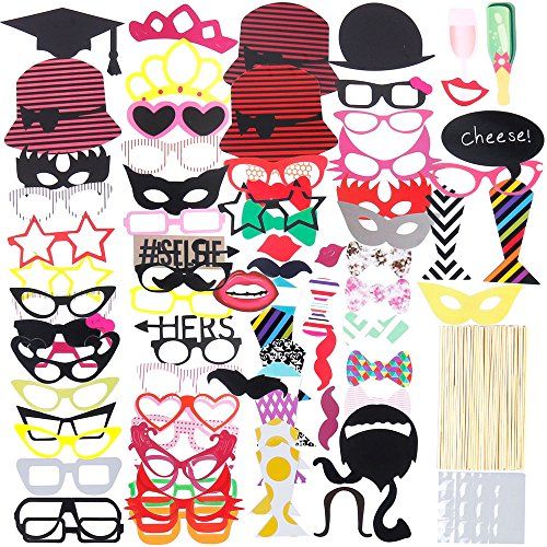 Lictin 86Pcs DIY Photo Booth Atrezzo Favorecer Incluyendo Cómica Divertida Creativa Bigotes...