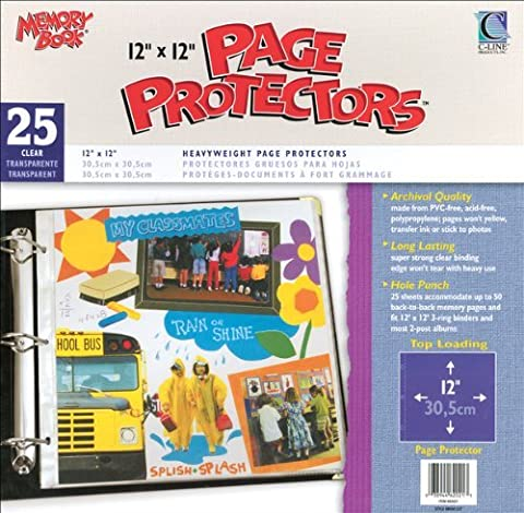 C-Line 631429 12 in. x 12 in. 3-Ring and Postbound Use Memory Book Top-Load Page Protectors 25-Box - Clear by C-Line