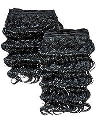 chear Deep Wave 2en 1trame Extension de cheveux humains avec de mélange tissage Nombre 1, Noir jet 20,3cm
