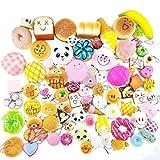 20PCS Random Kawaii Soft Squishy Cake Panda Bread Buns Toasts Foods Phone Chain Holder Jumbo Medium Mini