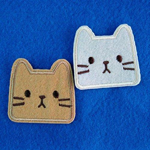 2Stück Set Cat Kitty Face Stickerei Eisen auf Patch/Aufnäher/genäht auf