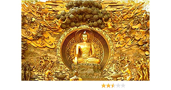 Kayra Décor 3d Printed Peace Lord Buddha Wallpaper Ruby Paper 36 X