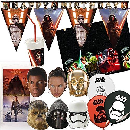 97-teiliges Dekoset * STAR WARS * für Kindergeburtstag und Motto-Party // mit Tischdecke + Becher + Masken + Wimpelkette + Girlande + Tür-Dekoration + Luftballons + Luftballons // Yoda Kylo Ren Set Deko (Star Wars Party)