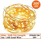 Fairy Lights 200 LED Micro Indoor Outdoor Christmas Tree LED Fairy Lights String Lights / 20 Meters / 65 Ft Copper Cable - Mains/ Power Operated LED Fairy Lights - Ideal for Christmas Tree