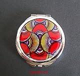 Bolso redondo espejo, cabujón * cera * color étnico, africano, plata, bolso espejo, accesorios de belleza, mujer, regalo para ella.