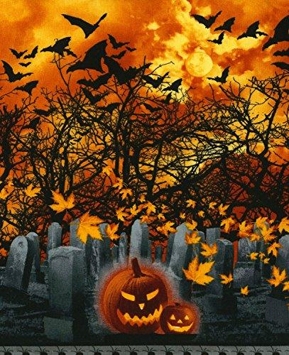 Timeless Treasures Halloween Stoff-Halloween Friedhof Kürbisse Streifen-Baumwolle-von 30cm-TT147-von 100% Baumwolle -