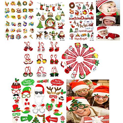 JUZNOY Weihnachten Fotorequisiten, Weihnachten Foto Booth Props, Weihnachten Tattoo Kinder[Nicht Toxisch und FDA Zugelassen], 20PCS Haarklammern Weihnachten und Haargummis (Zufälliger Typ)