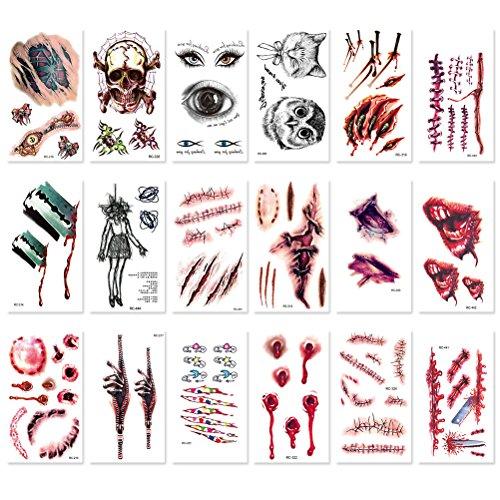 r Tätowierungen Halloween temporäre Tätowierungen Halloween Make-up-Kit gefälschte Horror Narbe Tattoo Aufkleber für Halloween-Kostüm-Party ()