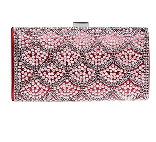 Strawberryer Ensemble De Perles De Perles Europe Et Les États-Unis Fashion Nightclub Princesse Soirée Bag Holding Dinner Clutch red