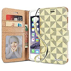 iPhone 6s Case, iPhone 6 Case Wallet, Feayoo [Wallet S] Stand Feature [Wristlet] Premium Leather Wallet Case STAND Flip Folio Cover with Strap for iPhone 6s (2015) / iPhone 6 (2014) (EB White)