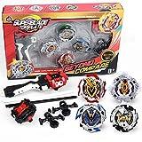 infinitoo Toupie Burst 4pcs Set avec Launcher Gyro métal Combat| Battle Set Jouets Classiques pour Enfants Adulte| 4 Toupies + 2 Lanceurs