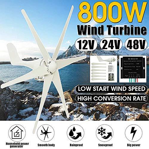 Raenhero 800W 12V / 24V / 48V 6-Pala eolica + regolatore della turbina Orizzontale del Vento per Uso Domestico del Mulino a Vento Turbina di Ricarica,28V