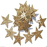48 Gold 25mm Self Adhesive Glitter Star Sticker card making craft Diy christmas
