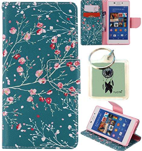 für Sony Xperia M2 PU Wallet Case Schutz Hülle für Sony Xperia M2 - Cover Flip Tasche mit Kartenfach in Buch Stil mit Kartenfach Standfunktion Magnetverschluss und Hand Wrist + Schlüsselanhänger (J18)