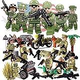 Mini Figuren Set- 8 Stück Armee Minifiguren, Armee Minifiguren Soldat mit militärischen Waffen Zubehör Soldat Minifiguren, Zweiten Weltkrieg Hacksaw Ridge WW2 US Army Soldaten Figur Sino-Japanischen Militär Building Block Spielzeug Kompatibel mit Lego