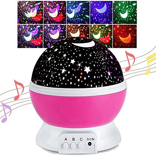 Gerhannery Sterne Nachtlicht Musik LED Star Projektor für Kinder 360 Grad Drehen Baby Zimmer dekoration Aufladbar Sternenhimmel Nachtlichter mit Musik (Lila-Music) (Zartes Rosa)