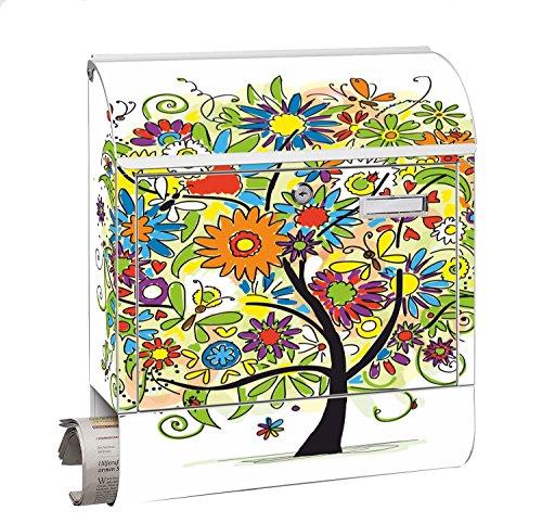 Design Motiv Briefkasten Maxi mit Zeitungsfach Zeitungsrolle für A4 Post slk shop Groß Baum Bunt