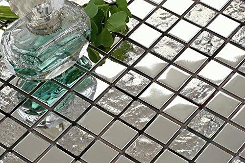 In acciaio inox lucido e texture Argento Vetro Mosaico Piastrelle da parete (mt0129), 3 Sheets