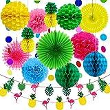 Aneco 15 pièces été fête décoration kit Tissu Ananas Papier Pom poms Fleurs Papier de Soie Ventilateur Papier à Pois Guirlande Flamingo Ananas bannières hawaïenne été fête de Luau