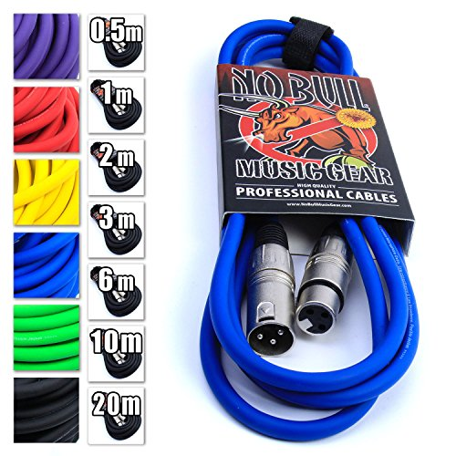 'No Bull Music Gear' Premium XLR Cable (Blue, 3m): Achieve a Clearer Audio Signal with a High Quality Balanced Male to Female Microphone Lead, plus Free Velcro Cable Tie