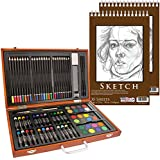 "US Art Supply 82 Piece Deluxe Art Creativity Set in Wooden Case with 9""x12"" 90 Pound 30 Sheet Sketch Pad"