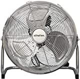 Schallen Chrome Silver Metal High Velocity Cold Air Circulator Adjustable Floor Fan