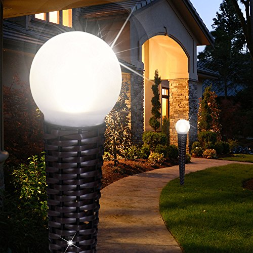 MIA Light Kugel Solar Erdspieß Leuchte ↥538mm/ LED/ Mediterran/ Schwarz/ Rattan/ Korb/ Hanf/ AUSSEN Lampe Deko Aussenlampe Aussenleuchte Erdspießlampe Erdspießleuchte Gartenlampe Gartenleuchte Solarlampe Solarleuchte