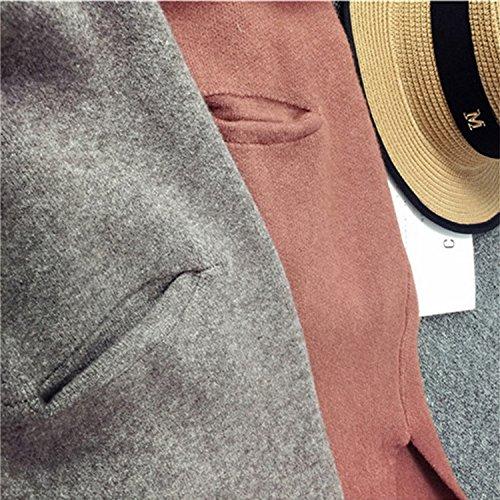 Desshok Femmes Casual Mi-longue Manche longue Tricot Chandail Cardigans Pull Sweaters Veste Manteaux Blouson 1