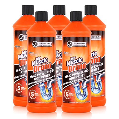 5x Mr Muscle Drano Power-Gel 1 Liter - Sicher für alle Rohre