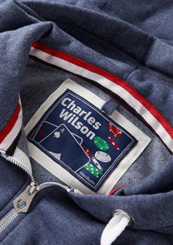 Charles Wilson Herren Kapuzenpulli mit Reißverschluss aus mittelschwerer Baumwollmischung Blau Meliert