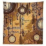 Antik Decor Tischdecke Antik Hintergrund mit Karte Uhren und Federn Zeit Classics Country Style Esszimmer Küche Tisch, rechteckig, Bezug, Satin, Multy, 24W x 24H Inches