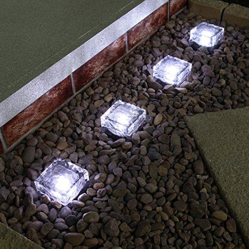 Solarbetriebene Design Garten Leuchten, Echt-Glas, 4er-Pack, von Festive Lights … (weiß)
