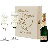 2 flûtes à Champagne et Bouteille de Champagne dans Un Coffret Cadeau Idée Cadeau de Mariage personnalisée Verre à…