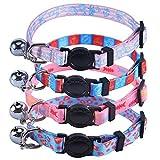 EXPAWLORER Verstellbar abtrünnigen Kätzchen Halsbänder Set–mit Glocke Charme 4Pcs Halskette für Kleine Hunde Verschiedene Marine Biologische Motive Design