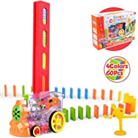 WeKidz Domino and Tile Game with Train 60Pcs Domino Train Toy Blocks Set with Lights and Sounds