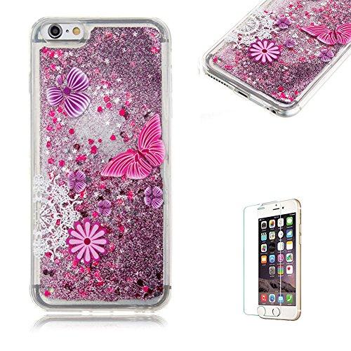 """Für iPhone 6 Plus/6S Plus 5.5"""" Durchsichtige Hülle,Für iPhone 6 Plus/6S Plus 5.5"""" Crystal Clear Flüssig Hülle Schutz Handy Case Hülle,Funyye Nette Kreative Komisch 3D Flüssigkeit Schutzhülle Bunten Mu Lila Blume"""