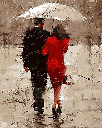 Kreative DIY Handmalerei, Landschaftsmalerei Liebhaber Regenschirm Schlafzimmer Färbung reine handbemalte dekorative Malerei 40 * 50cm , walking in the rain 3 - Drei Walking-socken