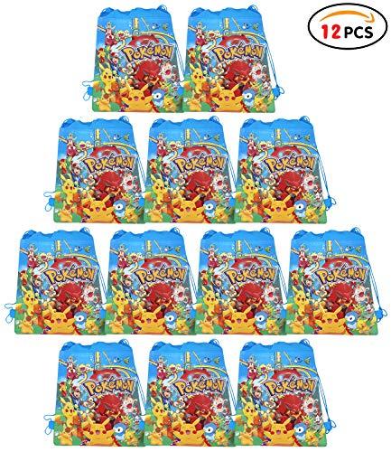 Qemsele borse festa per bambini borse sacca 12 pcs, zaino con coulisse sacchettini del per bambini e adulti festa di compleanno bambini bomboniare borsa sacchetto festa (w10 * h12, pokemon)