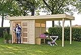 Outdoor Gartenhaus / Flachdachhaus Vera mit Überdachung 250 Sockelmaß: 250 x 198 cm Dachstand: 525 x 238 cm Wandstärke: 19 mm Rauminhalt: 9,50 cbm Überdachung: Inklusive Ausführung: naturbelassen Material: Massivholz