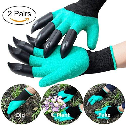 moneil Garten Genie Stil Handschuhe mit Fingerspitzen Krallen Schnell leicht zu graben und die Pflanze Sicher für Rose Beschneiden Handschuhe Fäustlinge Graben Handschuhe (Klauen Schutz auf jeder Hand)-2Paar