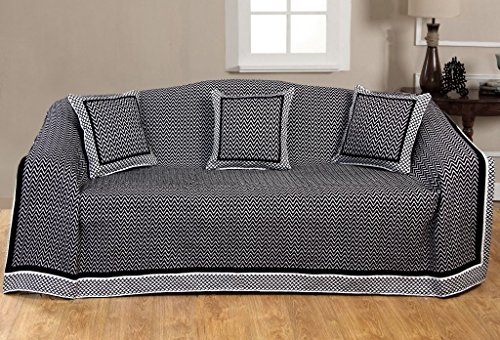 K Living 70 x 100 cm, 60 pourcent Polyester 40 Flamestitch/Couvre-Lit en Coton Noir/Blanc
