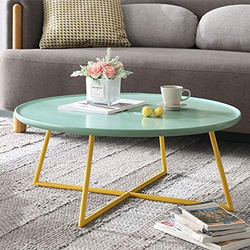 Table basse ronde pour le balcon de la chambre à coucher du salon, petite table à thé industrielle de la personnalité créatrice, pieds de table en MDF vert et de l'art en fer jaune