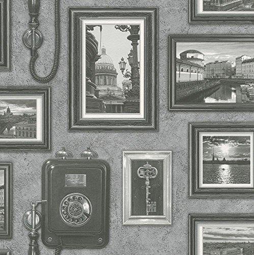 Papiertapete Rasch Vintage Fotos Galerie Shabby Chic grau 307900